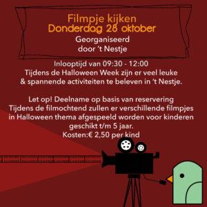 Halloween Week Filmpje kijken donderdag 28 oktober ochtend (t/m 5 jaar)